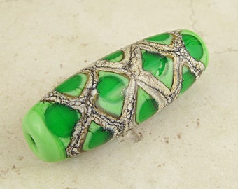 Lampwork Glass Bead Green Organic Focal with Webbed Silvered Ivory Grass Green Honeycomb