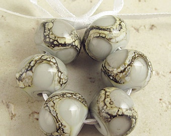 Gray Lampwork Glass Bead, Handmade Set of 6 14x11mm Organic Webbed Silvered Ivory, Pearl Gray