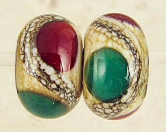 Glass Lampwork Beads Pair Handmade Cream base with Red  Green and Ivory Small 11x7mm Christmas