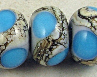 Lampwork Glass Bead Set of 6  Silvered Ivory Small 11x7mm Aqua on Gray