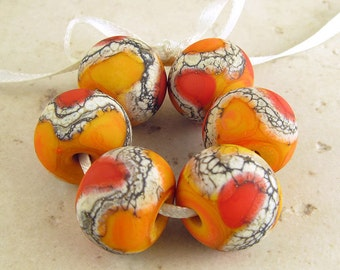 Glass Beads Etched Lampwork Lipstick Red and Apricot Orange Handmade Set of 6 14x11 mm Warm Fire Velvet