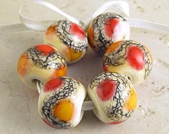 Handmade Lampwork Glass Bead Set of 6 Lipstick Red Apricot Orange Cream 14x11 mm Soft Fire