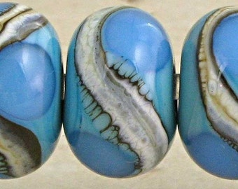 Handmade Lampwork Glass Bead Set of 6 Silvered Ivory Small 11x7mm Blue on Turquoise