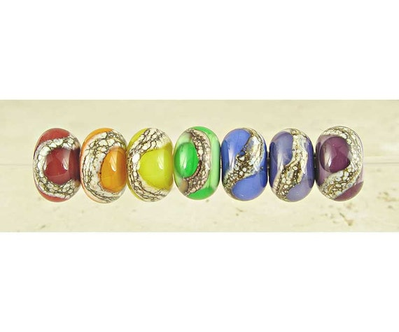 Rainbow Lampwork Glass Bead Set of 7, Small 11x7mm, Glossy Finish