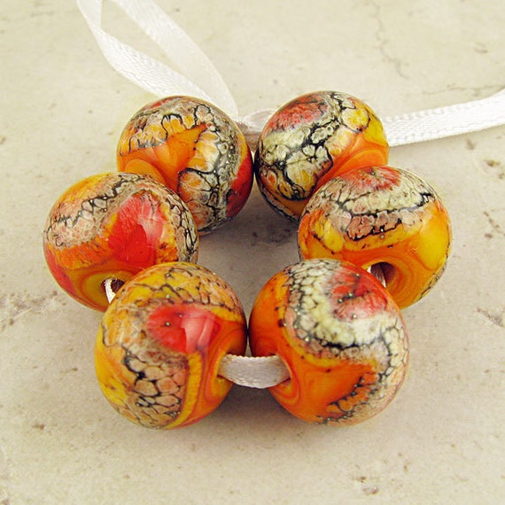 Lipstick Red and Apricot Orange Handmade Lampwork Glass Bead Set of 6 14x11mm Warm Fire