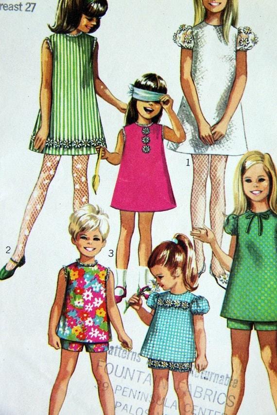 1960s Simplicity 7567 vintage girls dress pattern size 8