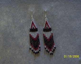 Beaded Earrings in red, black, and clear