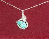 ON SALE Handmade Solid Ammolite Sterling Silver Pendant