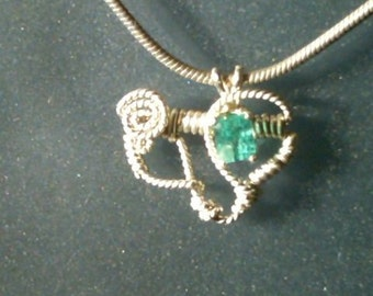 Colombian Emerald and Argentium Silver Pendant