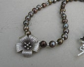 Necklace -Chocolate Freshwater Pearl, Sterling Silver and Flower Pendant - Limited Edition -fall fashion