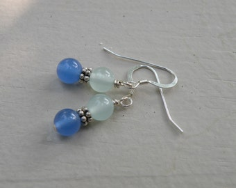 Blue Quartz Earrings With Sterling Silver