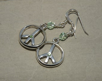 Earrings - Peace Sign with sterling silver and light green crystal - spring fashion - summer fashion - easter gift