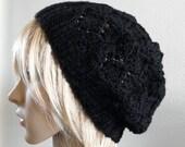 Hand knit hat lacy beret slouchy hat in solid black wool handknitted women noir warm teen winter beanie