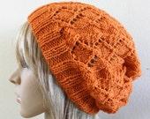 Knit hat orange women beanie - lacy beret pure fine luxury australian wool hand knit woman teen winter autumn slouchy slouch fox orange
