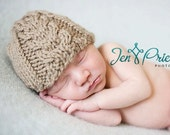 Chunky cabled hat hand knit tan beige latte light brown taupe newborn baby boy girl pure australian merino photography photo prop