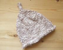 Hand knit baby hat elf pixie beige tan light brown white cream neutral alpaca merino newborn photo prop 0-3 3-6 months beanie