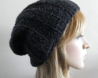 Fisherman hat slouchy charcoal gray grey hand knit classic chunky ribbed pure australian wool unisex men women beanie