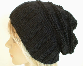 Hand knit slouchy hat wide band in black wool handknitted knitted warm slouch beanie