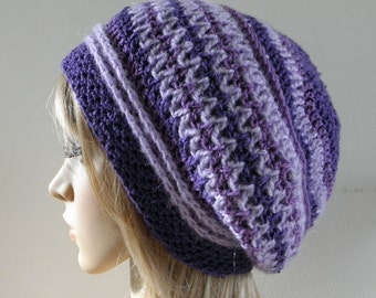 Crochet boho style slouchy hat beret in purple mauve lavender OOAK crocheted warm beanie READY MADE