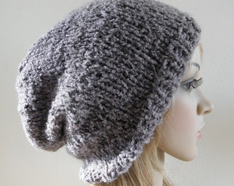 LAST ONE Oversized slouchy hat soft textured steel grey gray vegan unisex hand knitted men women teen unisex urban winter fall slouch beanie