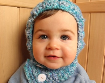 Toddler coverall hat pixie hood hand knit blue boucle yarn baby boy scarflette and hat in one soft warm 1T-2T 12-24 months