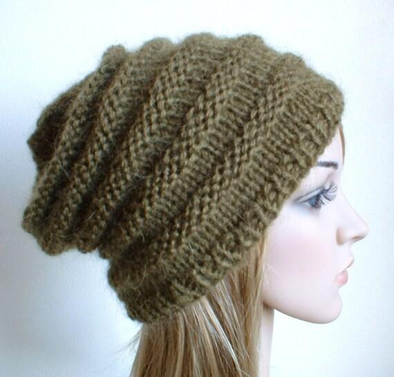 Slouchy hat in olive green luxury australian wool\/mohair unisex