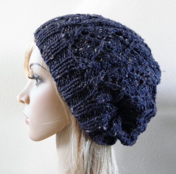 RESERVED for EBC1 beret slouchy hat in olive green wool hand knit winter autumn spring warm women