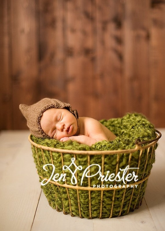 Pixie bonnet baby hat with chin strap and button hand knit mid brown newborn boy girl photo photography prop