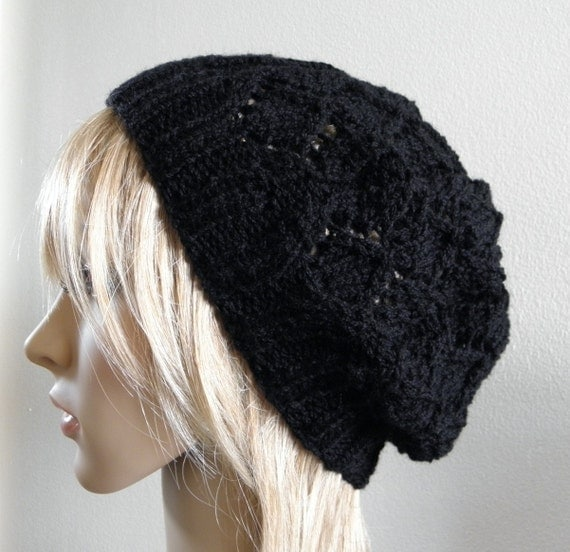 Hand knit hat lacy beret slouchy hat in solid black wool handknitted women noir warm teen winter beanie