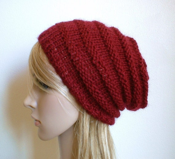 Hand knit slouchy hat in ruby red wine maroon wool mohair blend knitted slouch women beanie