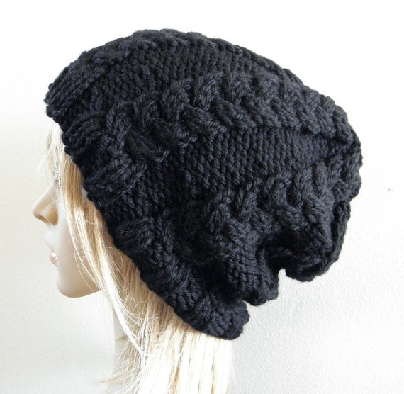 Hand knit hat cabled slouchy hat in solid black chunky warm luxurious australian wool handknitted licorice cables men women unisex slouch