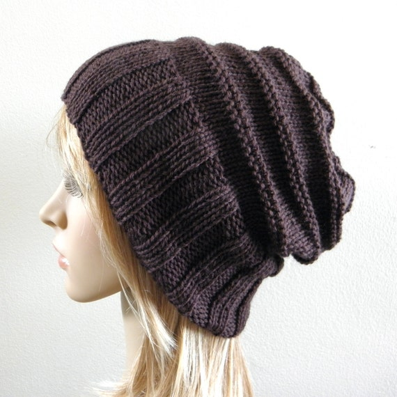Hand knit slouchy hat wide band in dark chocolate espresso coffee brown luxury soft wool choose color handknitted slouch women men unisex