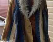 vintage patchwork cord jean 70's jacket