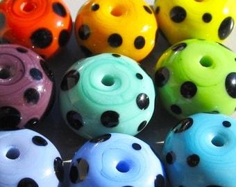 Spotty Spacers-- 10 Handmade Lampwork Beads