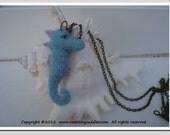 Miniature Needle Felted Baby Seahorse Necklace/Pendant/Charm/Kawaii