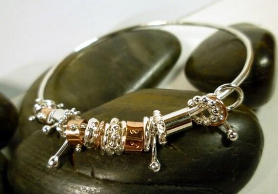 mixed metal jewellery Bangle-Sterling Silver and Copper Jingle Jangle Bangle