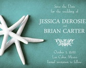 25 Wedding save the date cards 5x7 - WHITE STARFISH on teal