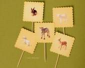 baby animal cupcake TOPPERS-set of 20
