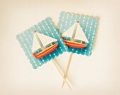 Sail Boat party cupcake TOPPERS- set of 10