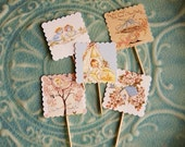 BABY and BIRDS party cupcake TOPPERS- set of 30  Priority shipping