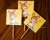 Set of 3 spring BUNNY cupcake toppers. Clearance