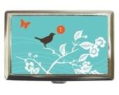 cc07 - Blue BIRD - Cigarette Case - Flat Wallet - Business Card Holder Singing Bird