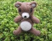 Needle Felted Poseable Bear Miniature Figure