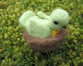 Needle Felted Bird Green and Yellow With Nest