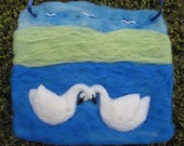Needle Felted Picture Swan Love