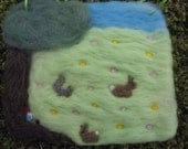 Needle Felted Picture A Day In The Field with Bunnies Squirrel and Gnome