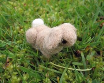 Needle Felted Bunny Tan Lop Eared Miniature Figure