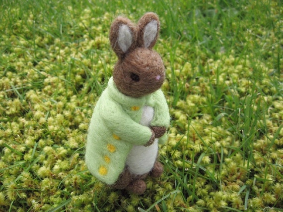 Mr. O'Mally the Rabbit Felted Wool Figure
