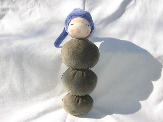 Waldorf Doll Army Green and Blue Hug-a-bug Natural toy