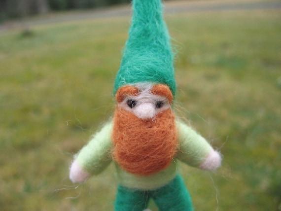 Needle Felted Pocket Gnome Bendy Doll Fitz